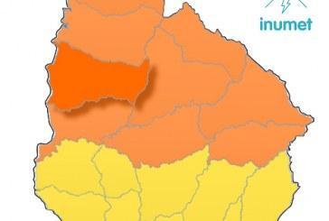 Alerta naranja para Paysandú por lluvias copiosas y tormentas fuertes