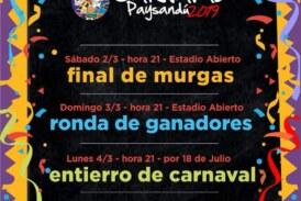 """Carnaval 2019: Final de murgas, ronda de ganadores y """"entierro de carnaval"""""""