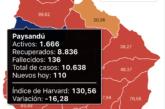 Coronavirus: Continúan bajando los diagnósticos diarios y los casos activos en Paysandú