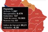 Coronavirus: Un fallecimiento y 61 casos nuevos en Paysandú. Hay 1.287 casos activos en el departamento